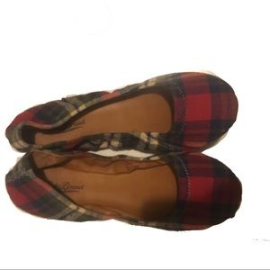 Lucky Brand Size 8 Red Plaid Flats